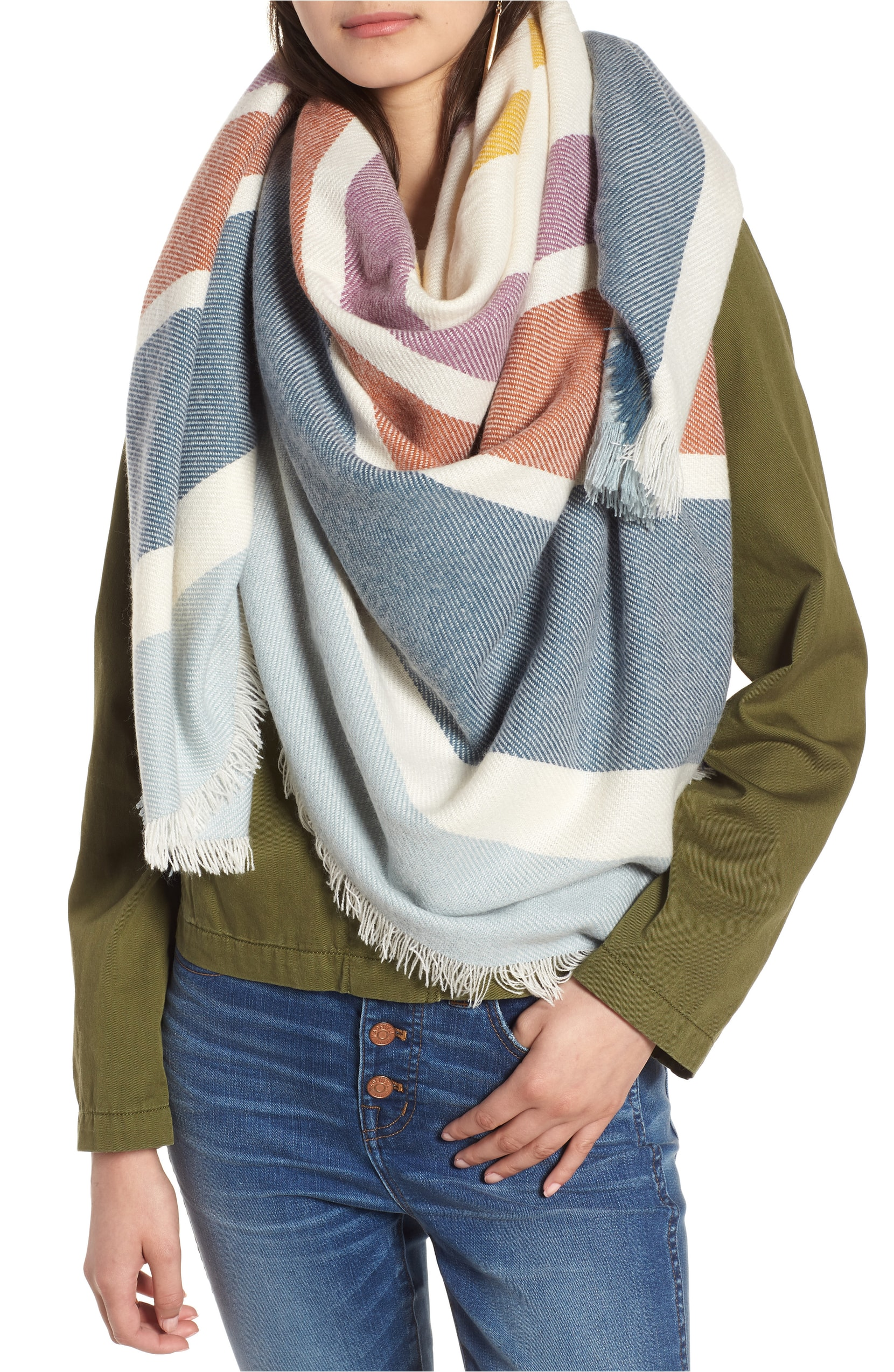 Stripe Blanket Scarf. Sale: $35.90 / After Sale: $55.00. (Image: Nordstrom){ }