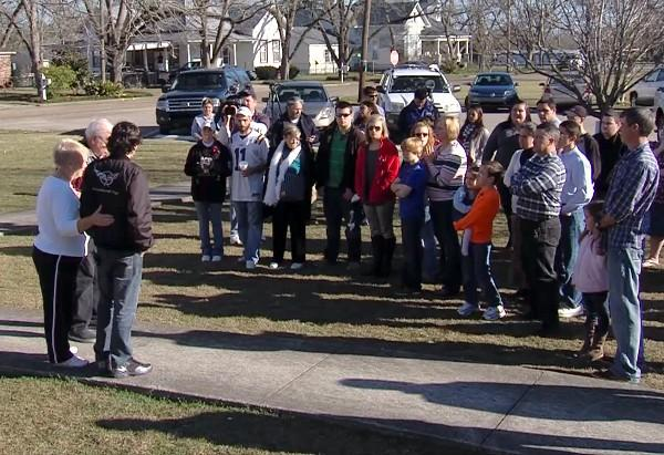Local residents in Midland City, Ala. held a prayer vigil on Saturday, February 2, 2013 for the slain bus driver and the young boy being held hostage.