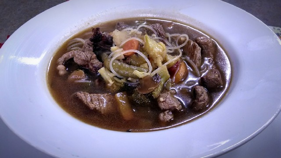 Garlic Ginger Beef & Noodle Soup recipe featured on Fox 11 Living With Amy.