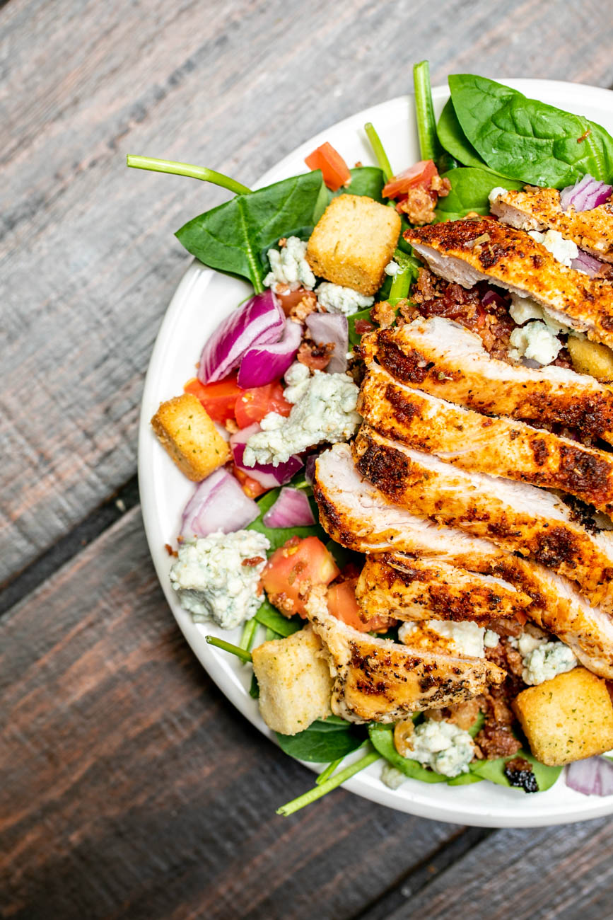 Chicken BLT Salad: Crisp mixed greens tossed with chopped bacon, tomatoes, seared chicken breast, croutons, and ranch dressing / Image: Amy Elisabeth Spasoff // Published: 5.29.18