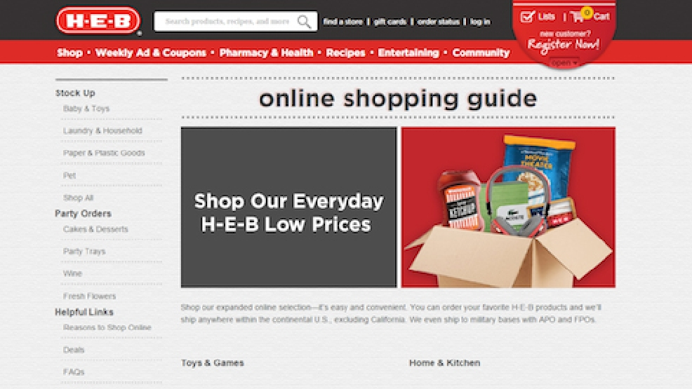 H-E-B launches online store, shipping to 46 states and military bases  KEYE