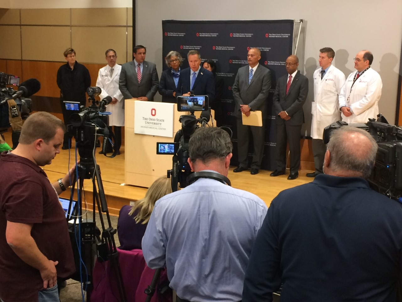 Ohio Governor John Kasich at a press conference at OSU Wexner Medical Center regarding the campus attack Monday morning (WSYX/WTTE)
