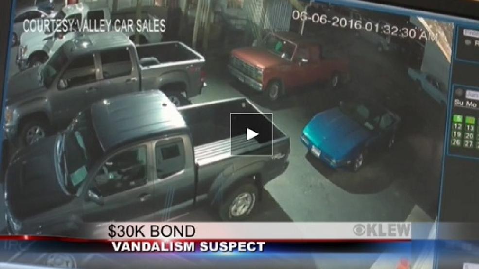 Suspect accused of car dealerships 39 vandalism spree bond Rogers motors lewiston idaho