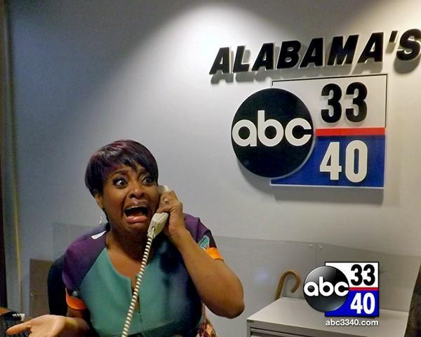 Standup comedian and co-host of ABC's The View Sherri Shepherd poses at the front desk during her visit to the ABC 33/40 News Station in Birmingham, Ala., Thursday, March 20, 2014.