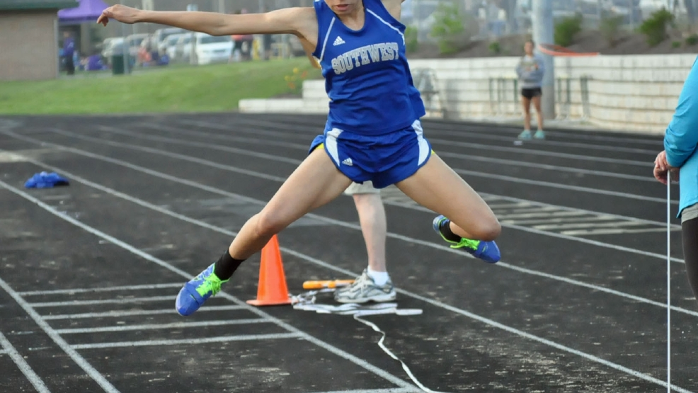 Green Bay Southwest's Natisha Hiedeman won two events and placed second in two events at the Fox River Classic Conference Track and Field Meet on Tuesday. (Doug Ritchay/WLUK)