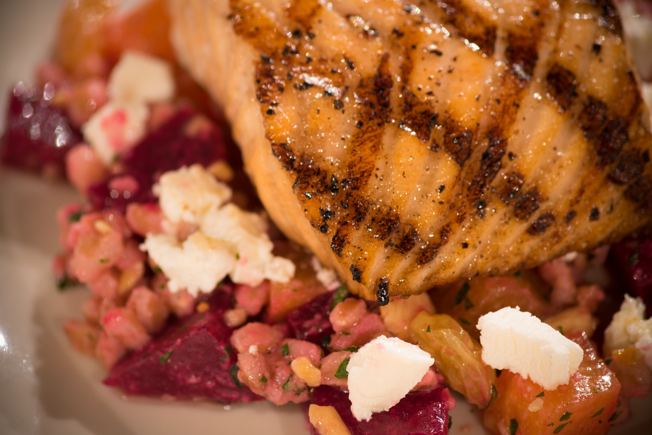 Grilled salmon with farro, roasted beets, goat cheese / Image: Phil Armstrong, Cincinnati Refined // Published: 11.19.16