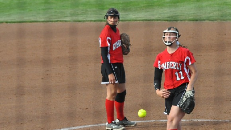 Kimberly's Jenna Smarzinski (left) and Megan Kleist (11) were named first-team all-state softball players. (Doug Ritchay/WLUK)