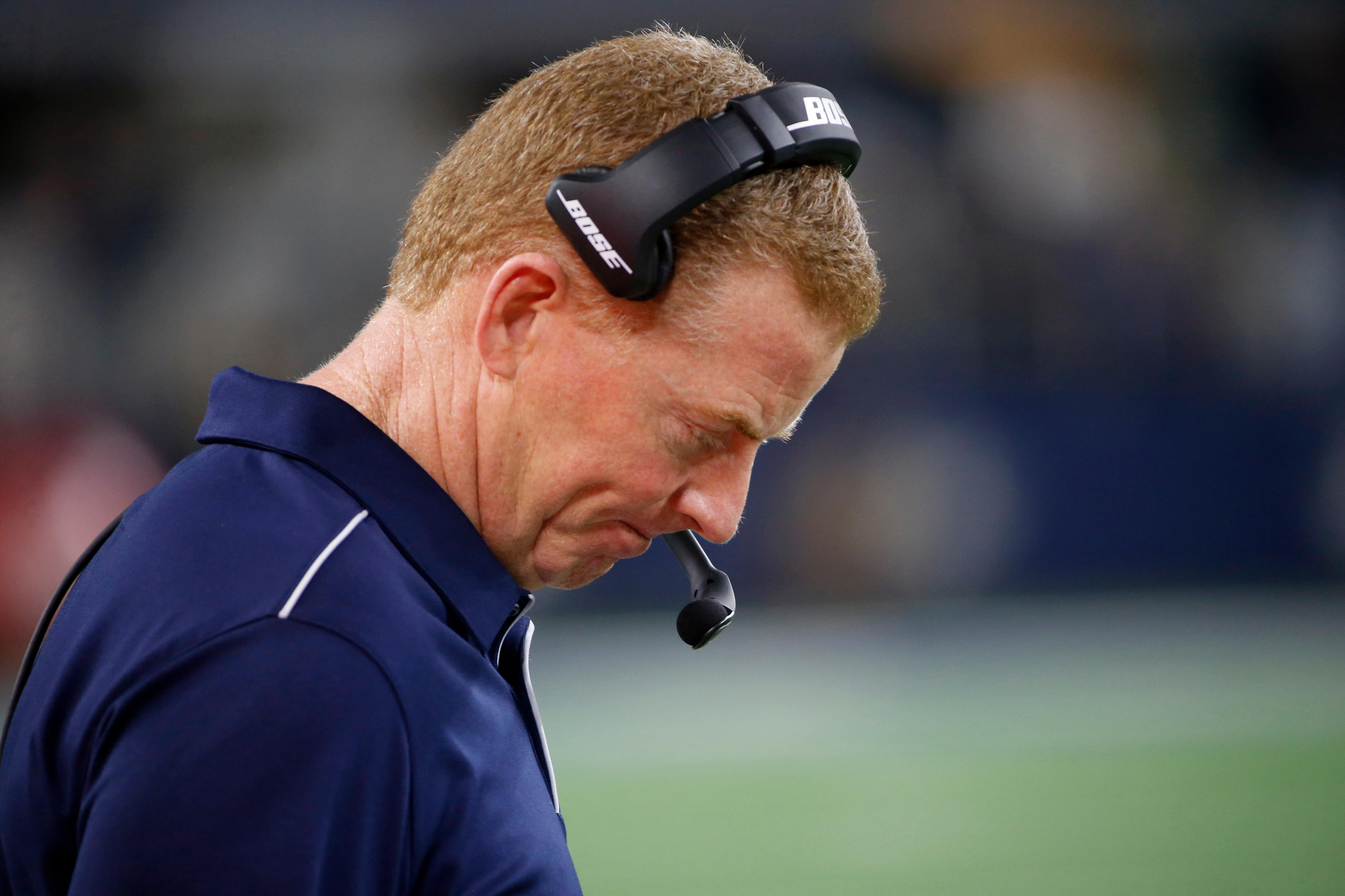 Dallas Cowboys head coach Jason Garrett stands on the sideline in the second half of an NFL football game against the Dallas Cowboys in Arlington, Texas, Thursday, Nov. 28, 2019. (AP Photo/Ron Jenkins)