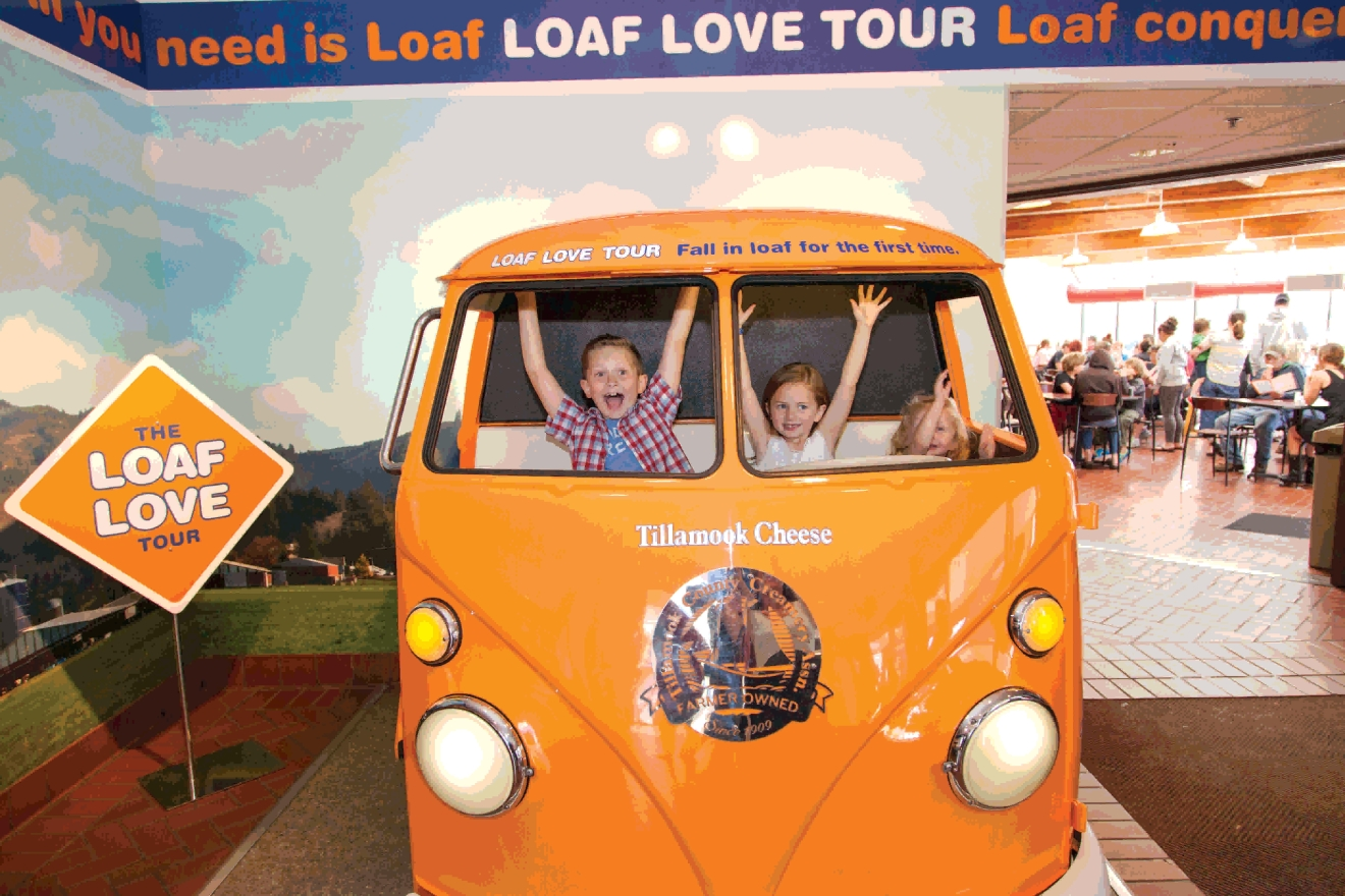 There's plenty of fun for kids at the Tillamook Cheese Factory. Just don't let them drive home ;)