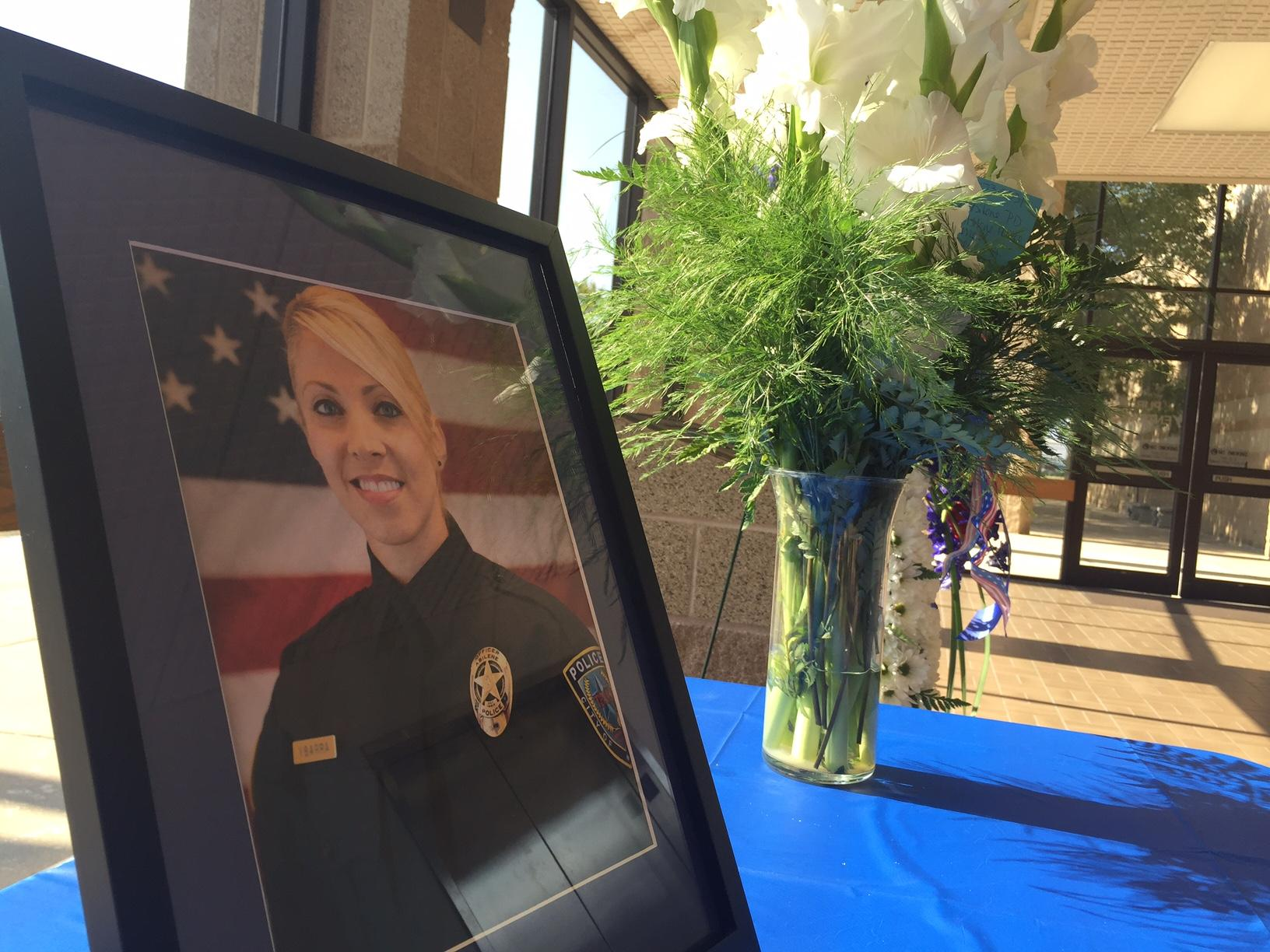 A display at the Law Enforcement Center is honoring Abilene police detective Elise Ybarra, who was killed in in a crash Sunday.