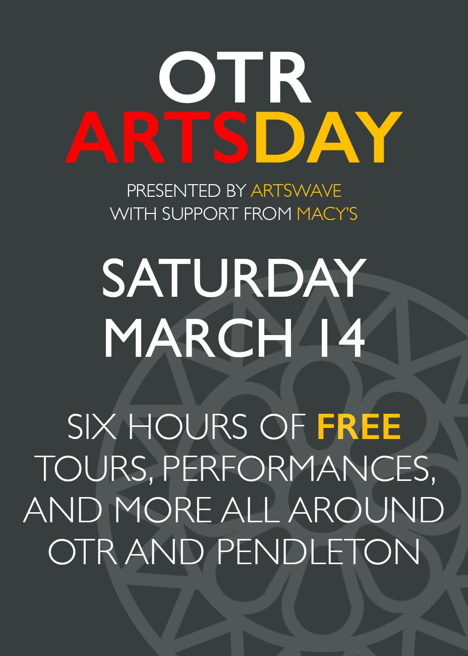 OTR Arts Day, presented by ArtsWave with support from Macy's, is a free six-hour event on Saturday, March 14th from 10 AM to 4 PM featuring tours, performances, art-making, and more at venues all around OTR and Pendleton. For more information, visit ArtsWave.org / Image: Phil Armstrong / Published: 3.10.20
