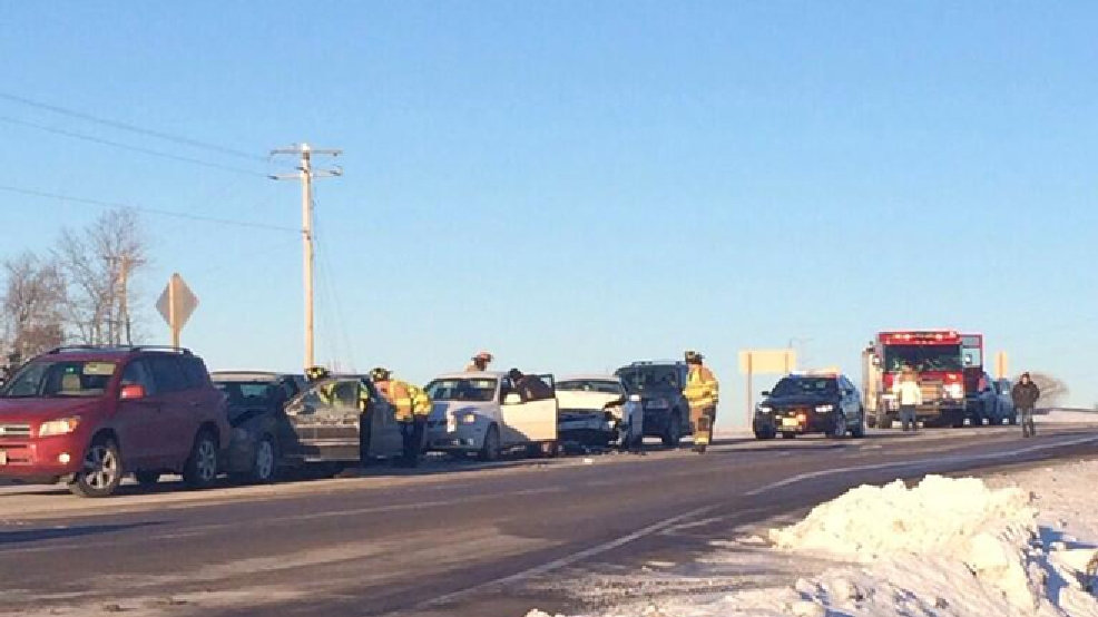 Emergency crews respond to a crash in Fond du Lac, Jan. 29, 2014. (Source: Fond du Lac Fire Dept.)