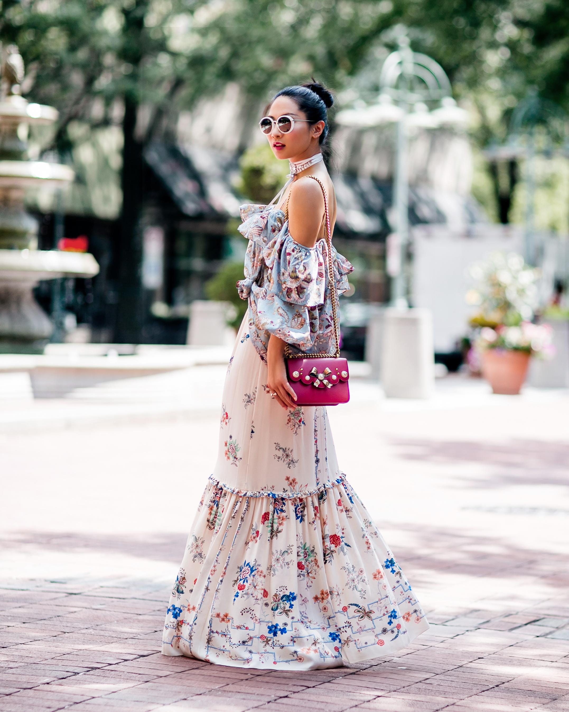 IMAGE: IG user @petiteflowerpresents / POST: Mixing different #floralprints is challenging but super fun, find a common color to tie the whole look together. Throwback to this look from last summer, both top and skirt are sold out but I've linked some cool options (all under $100). More of yesterday's look and #styletips is now on the blog: www.petiteflowerpresents.com