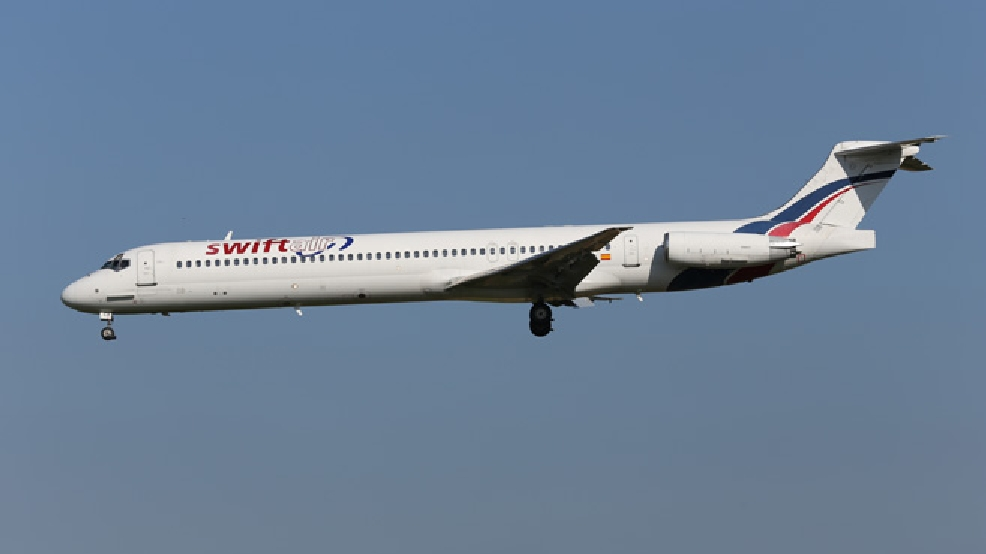 This photo taken on Friday, May 16, 2014 shows an MD-83 aircraft in the livery of Swiftair landing at Zaventem Airport Brussels. An Air Algerie flight carrying over 100 people from Burkina Faso to Algeria's capital disappeared from radar early Thursday over northern Mali after heavy rains were reported, according to the plane's owner and government officials in France and Burkina Faso. Air navigation services lost track of the MD-83 about 50 minutes after takeoff from Ougadougou, the capital of Burkina Faso, at 0155 GMT (9:55 p.m. EDT Wednesday), the official Algerian news agency APS said. Air Algerie Flight 5017 was being operated by Spanish airline Swiftair, the company said in a statement. The Spanish pilots' union said the plane belonged to Swiftair and it was operated by a Spanish crew. (AP Photo/Kevin Cleynhens)