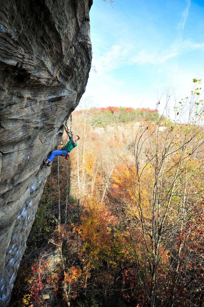 PLACE: Red River Gorge in Kentucky / DISTANCE: 133 miles southeast of Cincinnati, a two-hour drive / To really get the best views of foliage, you really have to get above it all. Kentucky's Red River Gorge is renowned for its rock climbing and whether you're on approach or topping out, you'll be treated to great views of fall colors. For those that prefer to stay on the ground, there are numerous great hikes, as well. / Image courtesy of the Kentucky Department of Tourism // Published: 10.19.19