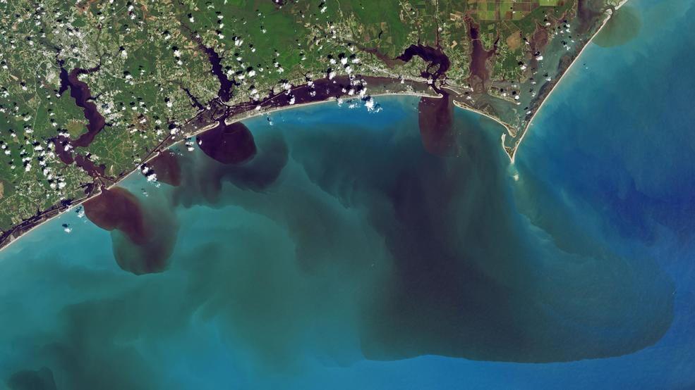 Satellite imagery shows pollution runoff in Carolina rivers from Hurricane Florence