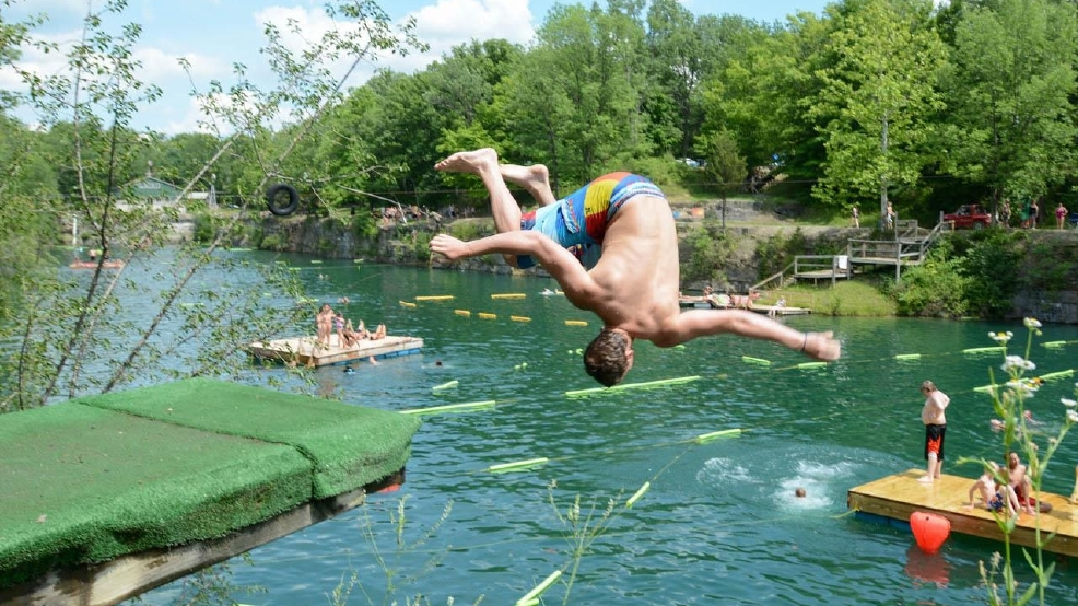 Swinging diving board for