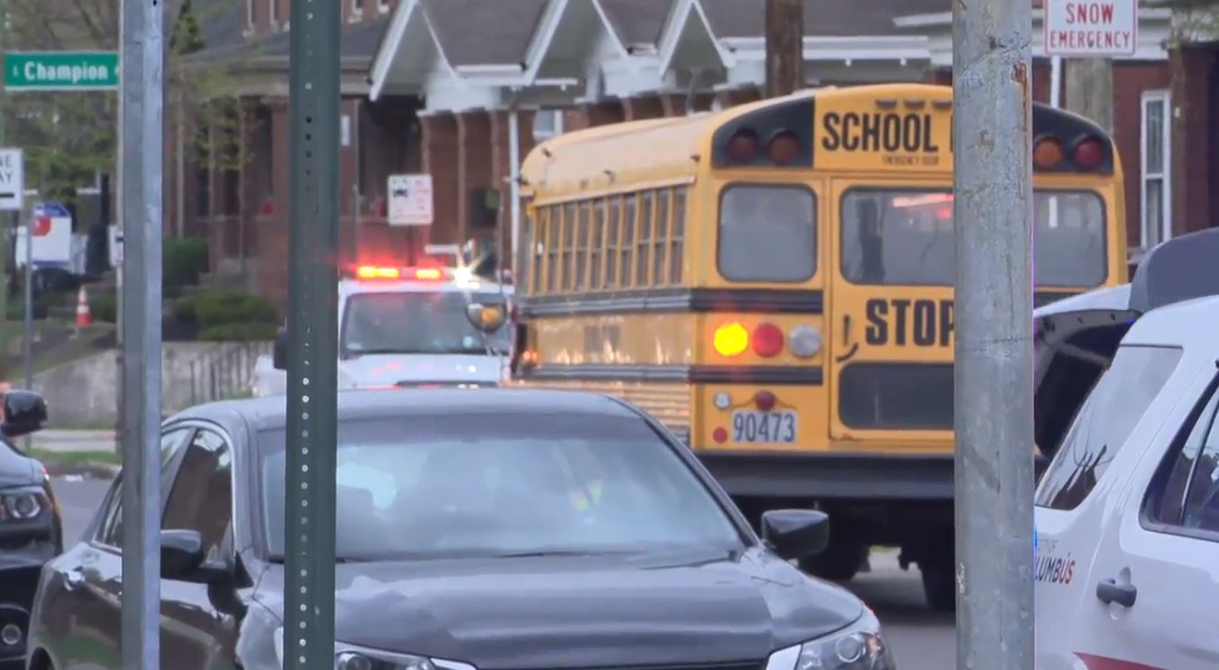 A school bus and a car were involved in a crash in east Columbus Thursday morning (WSYX/WTTE)