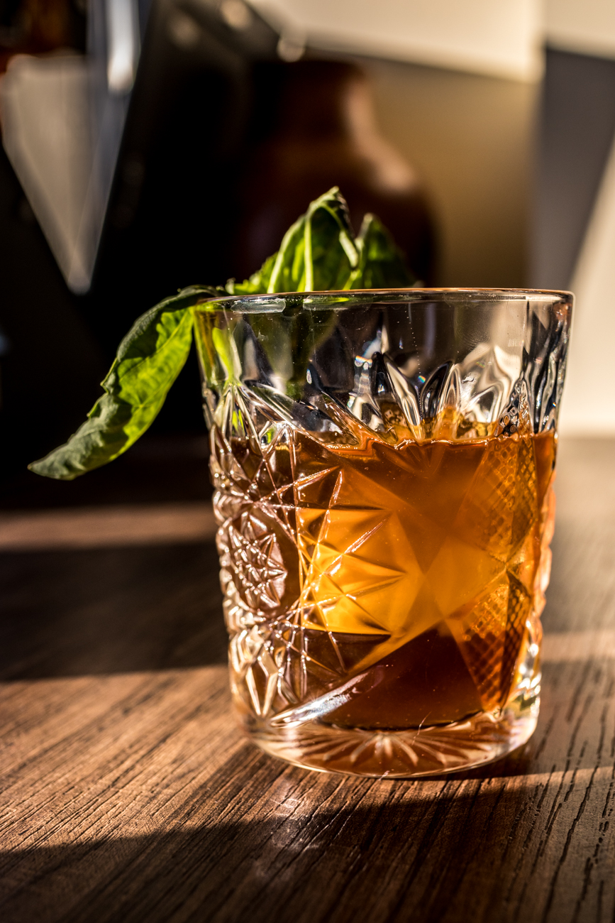 The Roebling: bourbon, coffee syrup, and basil / Image: Catherine Viox{ }// Published: 1.23.20