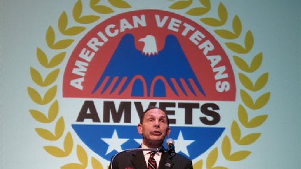 Secretary of Veterans Affairs Robert McDonald speaks to the American Veterans national convention on Wednesday, Aug. 13, 2014 in Memphis, Tenn. (AP Photo/Adrian Sainz).