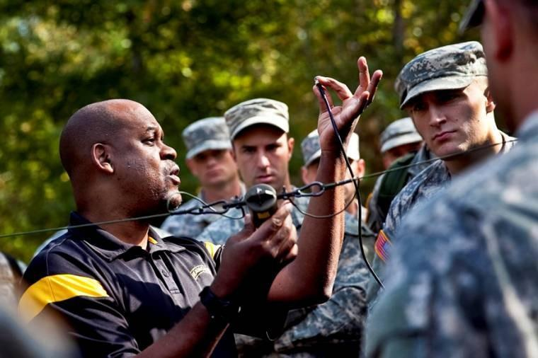 Darryl Hunter teaches soldiers about antenna theory during a field class as part of a leaders course on reconnaissance surveillance on Fort Benning, Ga., Oct. 23, 2013.