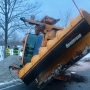 Tipped snow plow causes traffic troubles in Walworth early Friday