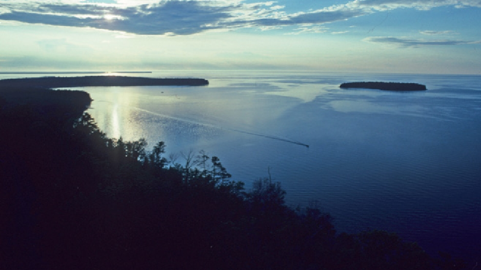 Overlooking Lake Michigan shoreline and Horseshoe Island at dusk at Peninsula State Park. (Photo courtesy Wisconsin DNR)
