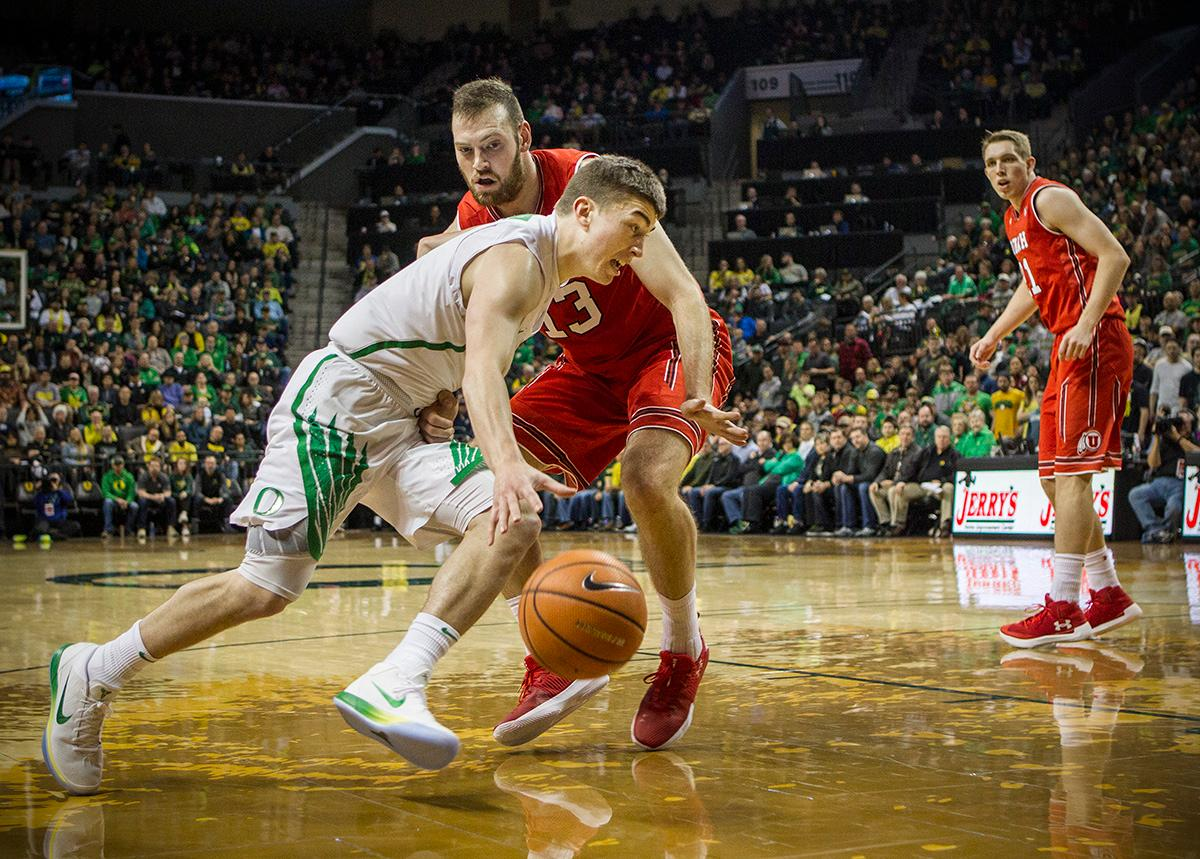 Oregon Ducks Payton Pritchard (#3) makes a drive towards the basket. The Utah Utes defeated the Oregon Ducks 66-56 on Friday night at Matthew Knight Arena. This is the first Pac-12 conference game loss at home for the Ducks since January of 2015. This also ended the five home game winning streak for the Ducks against the Utah Utes. Photo by Rhianna Gelhart, Oregon News Lab