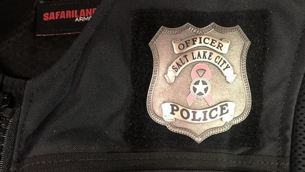 Salt Lake City Police officers wear special badge for Breast Cancer Awareness Month