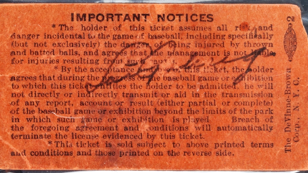 This is an undated photo provided by Heritage Auctions of a Yankee Stadium ticket stub signed by Lou Gehrig on July 4, 1939, the day he retired from baseball. Gehrig, who played first base for the New York Yankees for 17 seasons, was dying of amyotrophic lateral sclerosis (ALS), referred to today as Lou Gehrig's disease. The ticket stub will be auctioned by Heritage Auctions on Aug. 1, 2014 in Cleveland. Heritage Auctions says more than 60,000 tickets were sold that day and only two are known to have survived. Of the two, only the mezzanine box ticket was signed by Gehrig. It's estimated to bring over $100,000. (AP Photo/Heritage Auctions)