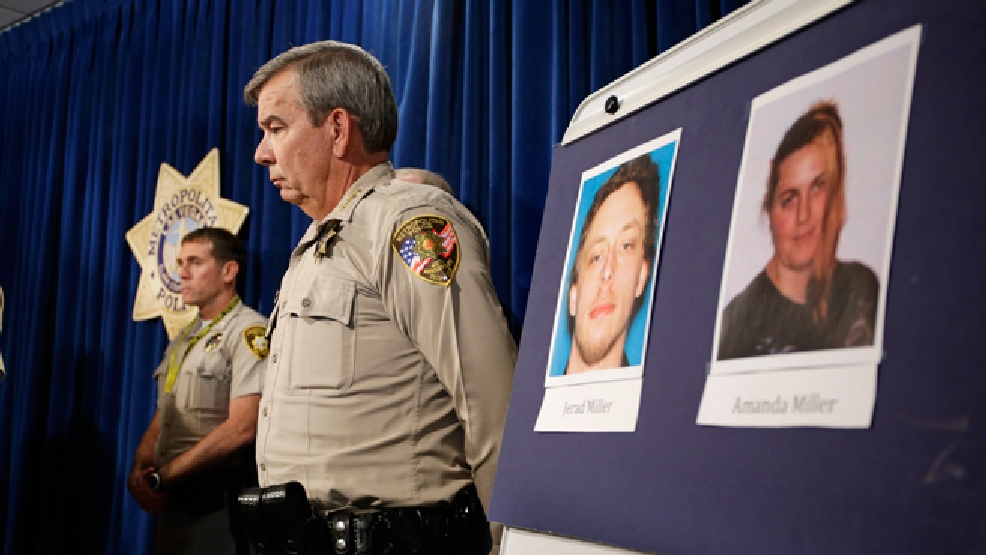 Las Vegas Sheriff Doug Gillespie stands by a board with the pictures of suspects Jerad Miller and Amanda Miller during a news conference Monday, June 9, 2014 in Las Vegas. Two police officers were having lunch at a strip mall pizza buffet when the Millers fatally shot them in a point-blank ambush, then fled to a nearby Wal-Mart where they killed a third person and then themselves in an apparent suicide pact, authorities said. (AP Photo/John Locher)
