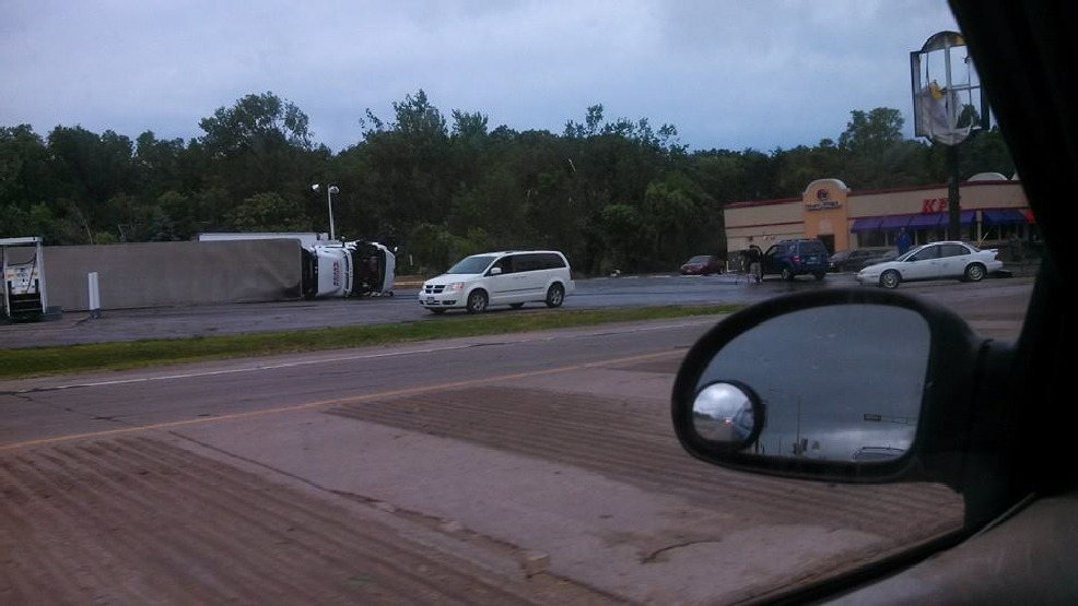 A semi was knocked over by the severe storms in Platteville, Wisconsin on Tuesday, June 17, 2014. (ReportIt/Janean Faull)