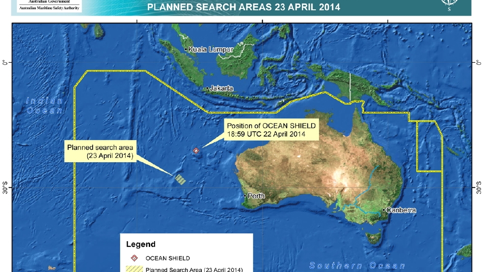 In this map provided on Wednesday, April 23, 2014, by the Joint Agency Coordination Centre, details are presented in the search for the missing Malaysia Airlines Flight 370 in the southern Indian Ocean. The hunt for the missing Malaysia Airlines jet will likely soon deploy more powerful sonar equipment that can delve deeper as the current search of the most likely crash site in the Indian Ocean has failed to yield any clues, Australia's defense minister said Wednesday. (AP Photo/Joint Agency Coordination Centre)