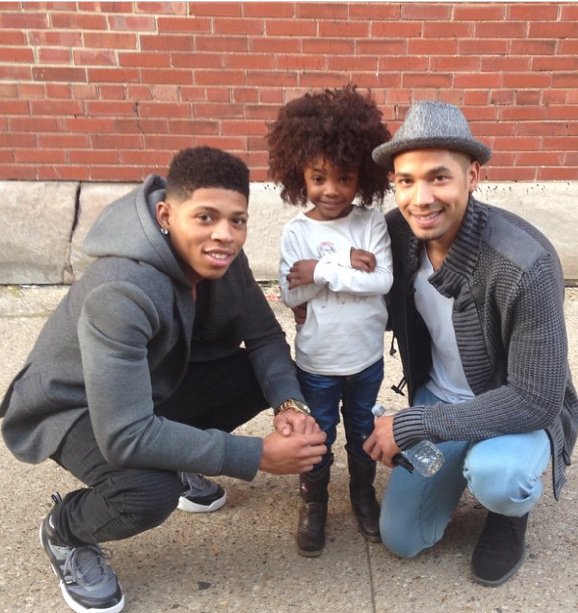 Leah Jeffries with actors Bryshere Y. Gray and Jussie Smollett who play Hakeem Lyon and Jamal Lyon on Empire.
