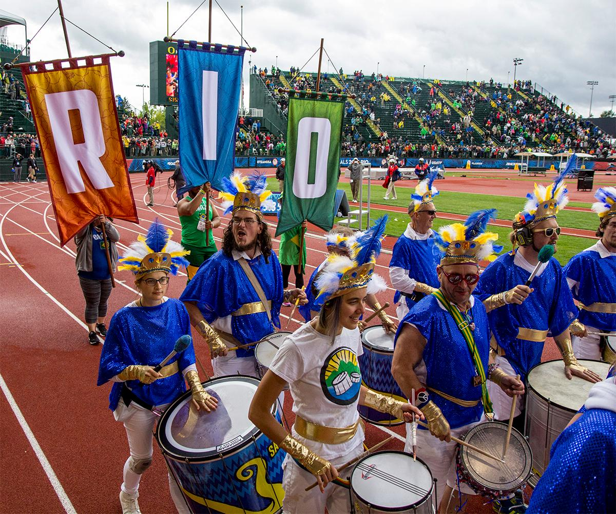 A parade marched around the track to close out this years trials and send athletes off to Rio. Photo by August Frank, Oregon News Lab