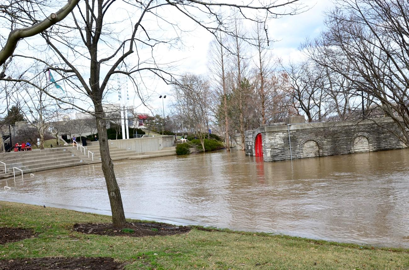 A completely flooded Sawyer Point amphitheater / Image: Leah Zipperstein, Cincinnati Refined // Published: 2.21.18