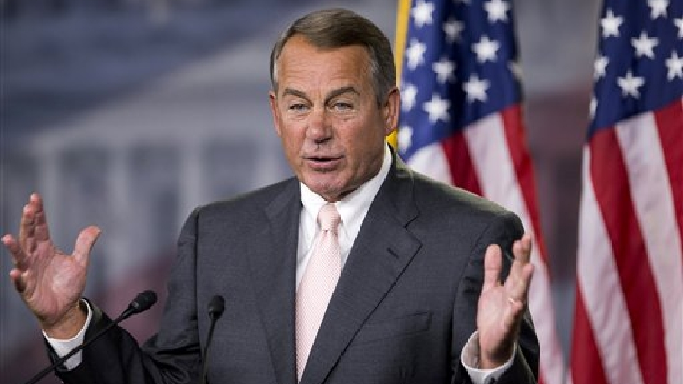 House Speaker John Boehner of Ohio, speaks to reporters on Capitol Hill in Washington, Thursday, July 10, 2014, during a news conference. (AP Photo/Manuel Balce Ceneta)