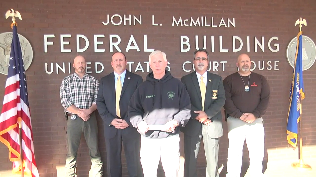 The Florence County Sheriff's Office along with the U.S. Marshals Office held a news conference Thursday outside the Florence Federal Building to announce the arrest of{ }Charles Durell Nethercutt. (WPDE)