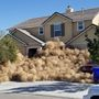 California neighborhood buried in tumbleweeds as the desert winds blow