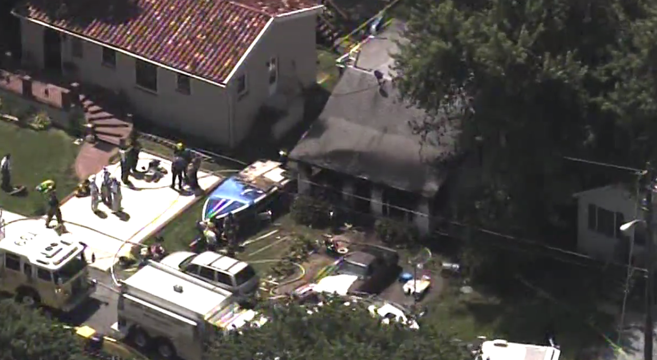 A person has died after a house fire in Shady Side, Md.  Thursday, Aug. 10, 2017 (SkyTrak7)