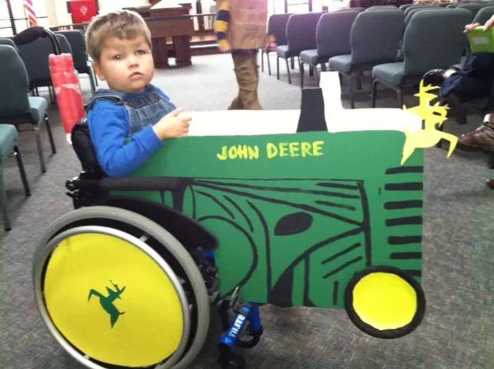 Trey and his John Deere tractor.