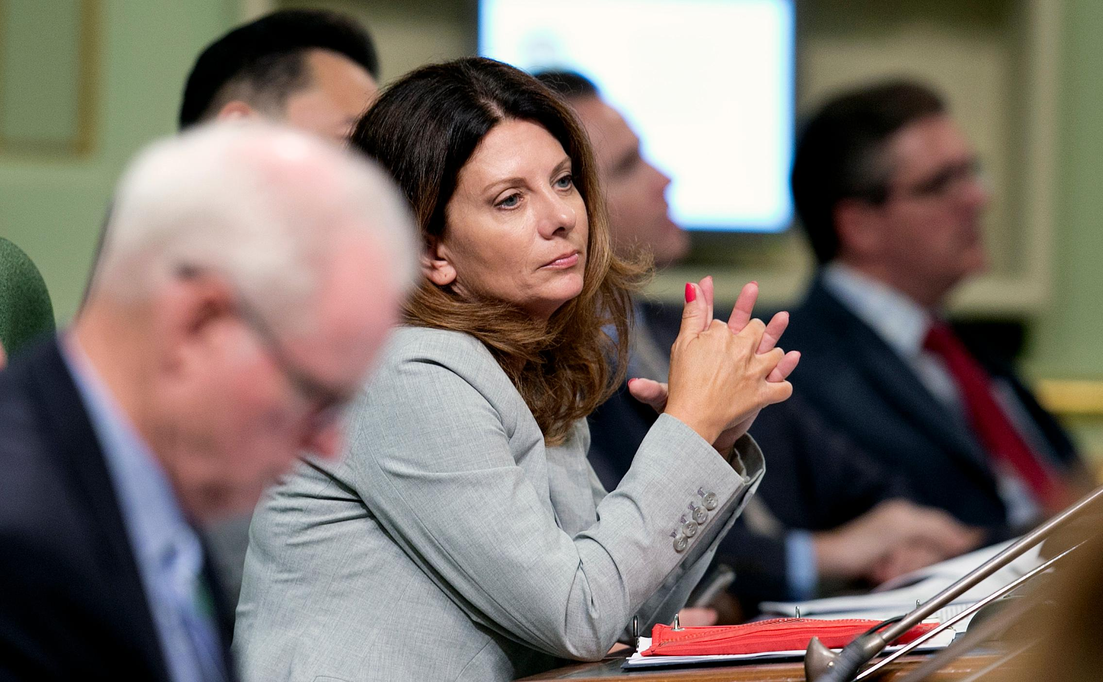 FILE -- In this Aug. 21, 2017, file photo, Assemblywoman Melissa Melendez, R-Lake Elsinore, sits at the Capitol in Sacramento, Calif. (AP Photo/Rich Pedroncelli, File)