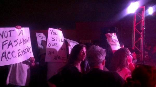 Protestors at PinkPony's concert at the Norman Music Festival.