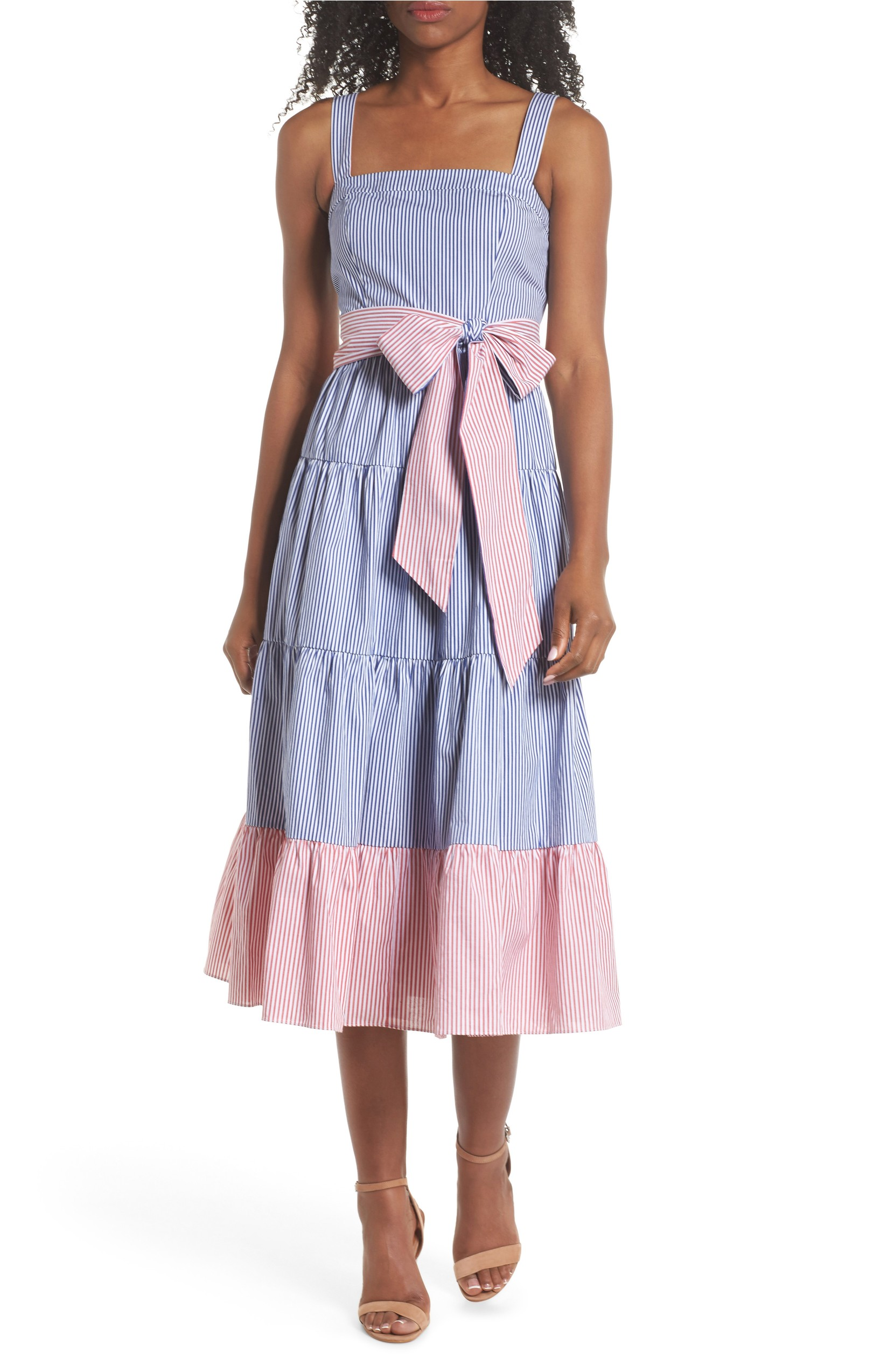 This Sleeveless Tiered Sundress was $158 and is now $78.98 with 50% off Free Shipping. Beckon the sun in this sweet sleeveless frock styled with a drapey, waist-cinching bow, a tiered ruffled skirt and a contrasting stripe print.<p>(Image: Nordstrom)</p>