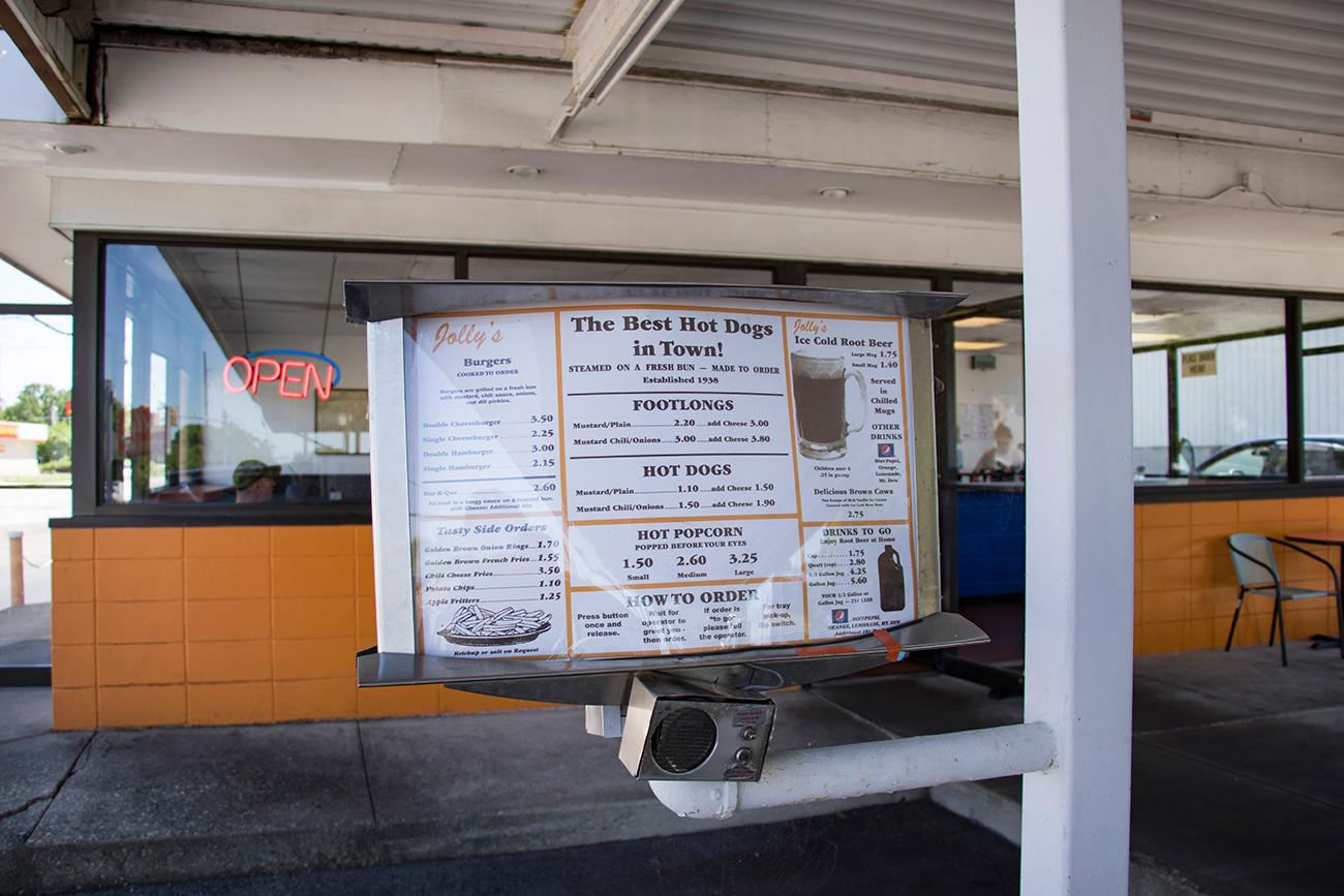 Jolly's Drive-In is a family-owned drive in restaurant that was founded in 1947. Jolly's serves American favorites like hamburgers, foot long chili dogs, and fresh popcorn, but they're famous for their homemade root beer. ADDRESS:{ }210 N Erie Hwy, Hamilton, OH 45011 / Image: Allison McAdams // Published: 6.13.18