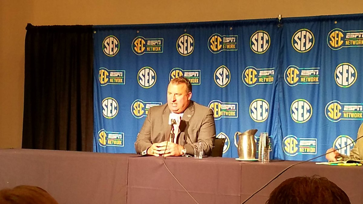 Arkansas Head Coach Bret Bielema  at the podium days after the birth of his 1st child on Saturday. (abc3340.com | Joe Whelan)