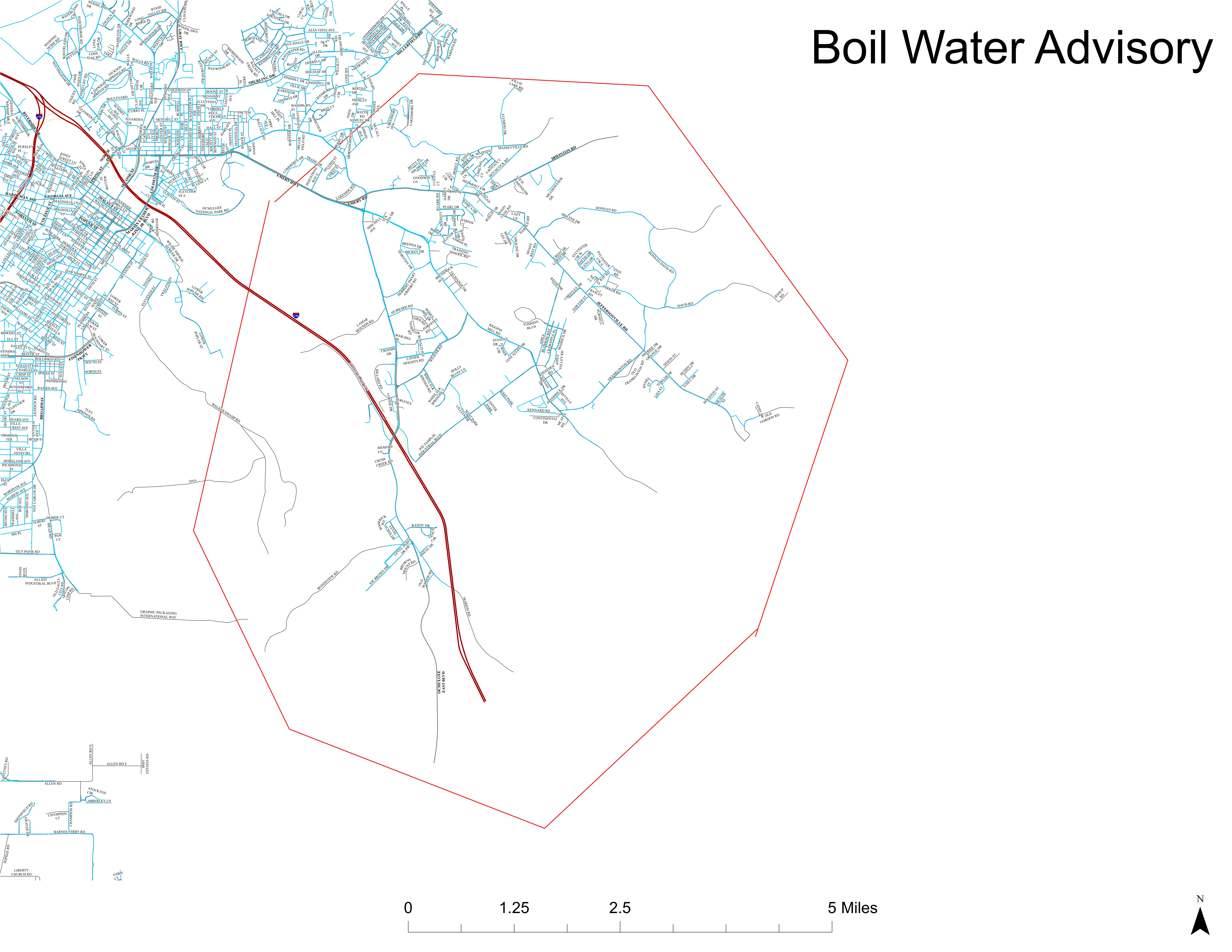 Map of areas under boil water advisory / Macon Water Authority<p></p>