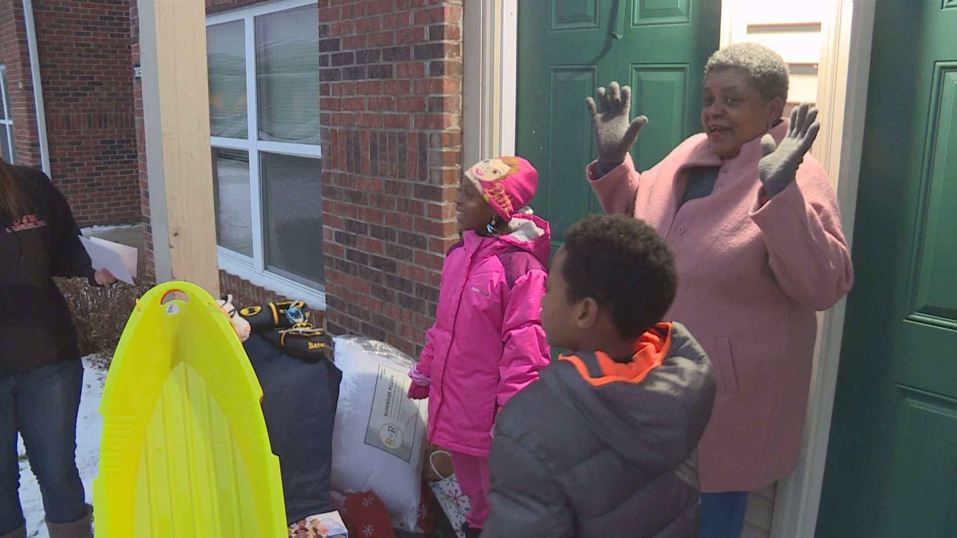 Michigan City children from Hurricane Irma receive surprise presents. // WSBT 22