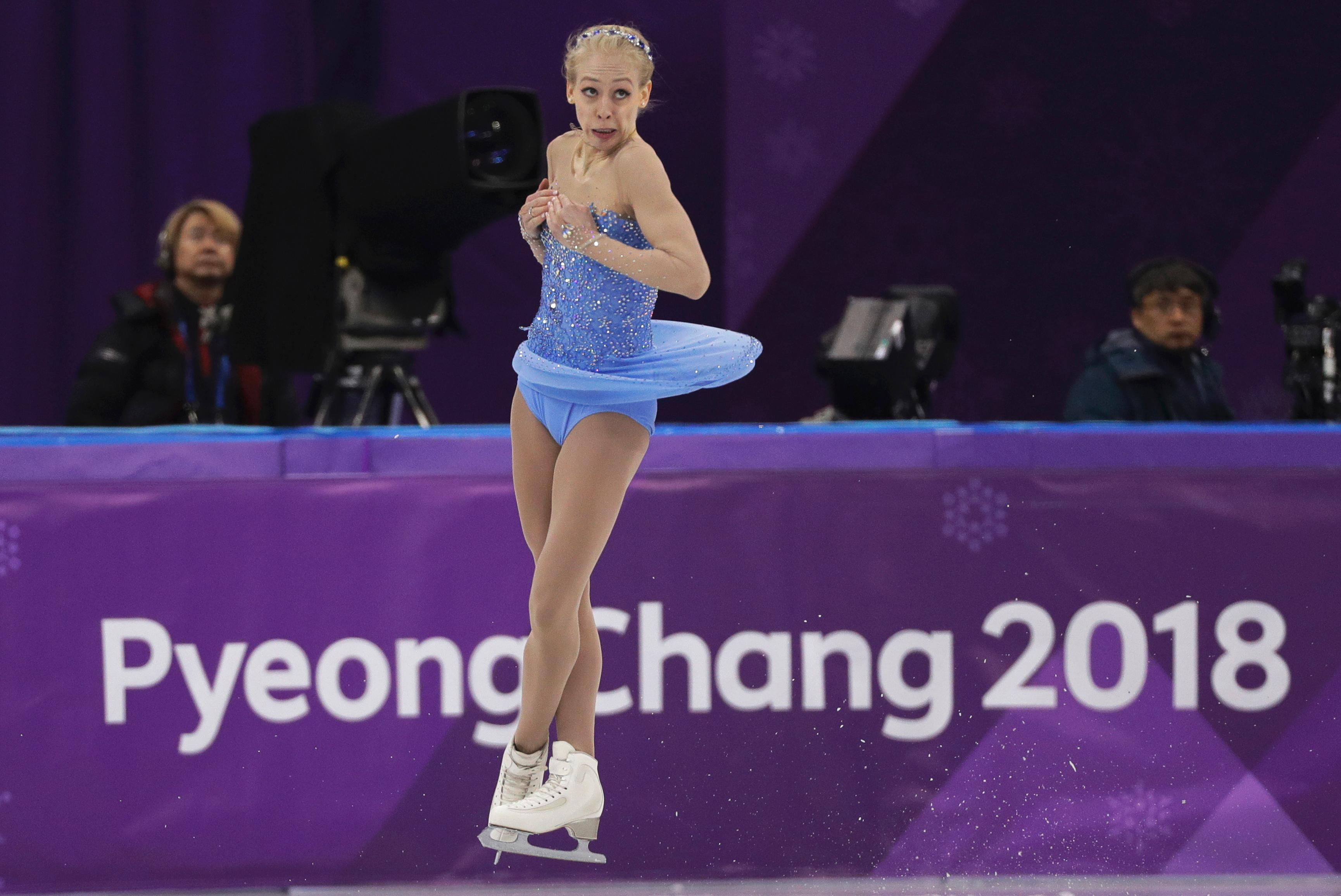 FILE - In this Feb. 23, 2018, file photo, Bradie Tennell performs during the women's free figure skating final in the Gangneung Ice Arena at the 2018 Winter Olympics in Gangneung, South Korea. For the season following an Olympics, Skate America certainly is packed with top U.S. competitors. The six-event Grand Prix series begins in Everett, Washington on Friday, Oct. 19. (AP Photo/David J. Phillip, File)