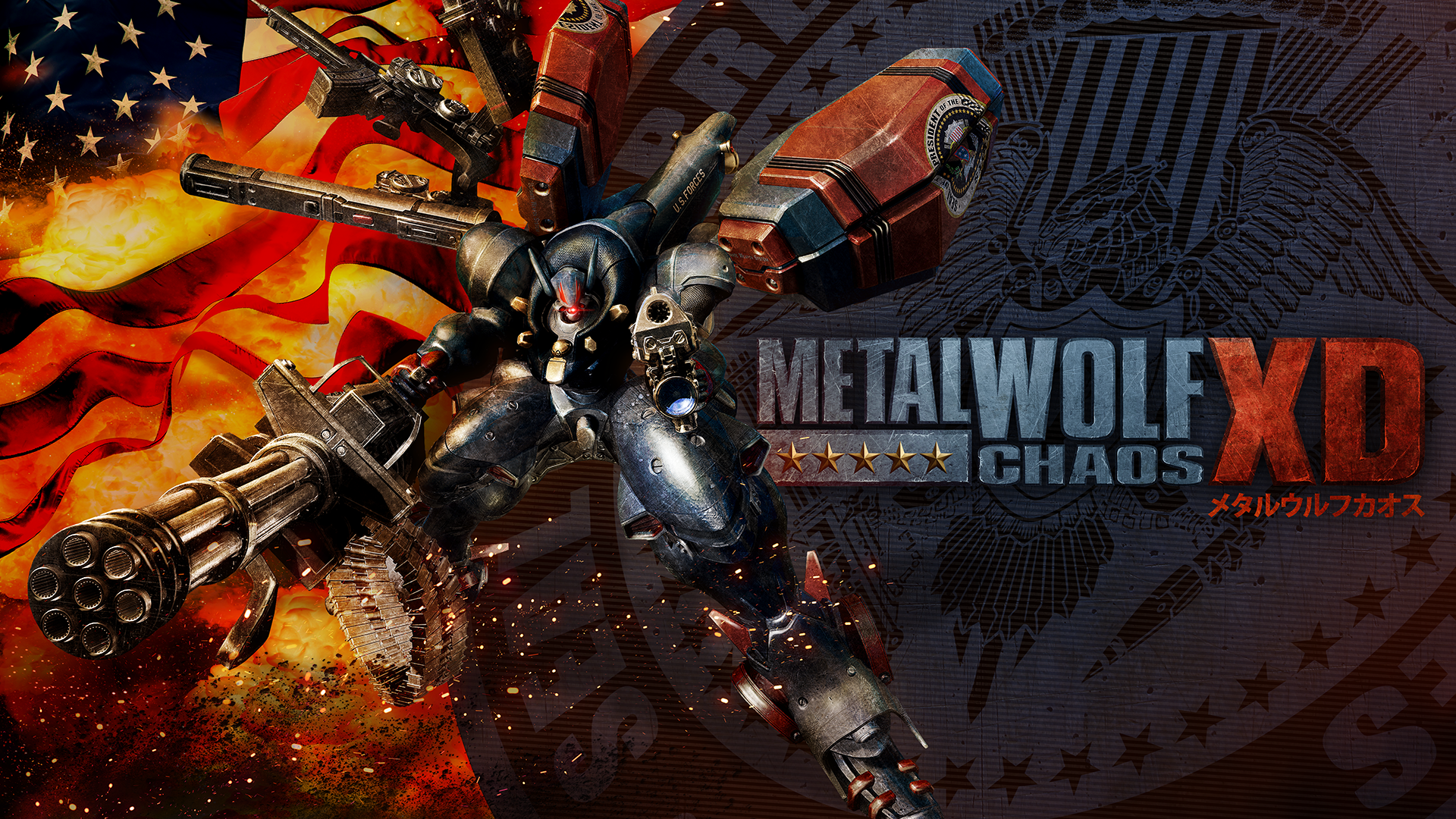 In Metal Wolf Chaos XD, the POTUS travels around the U.S. in Air Force One and fights off a villainous coup by the Vice President in an effort to restore democracy to the United States. (Photo courtesy Devolver Digital via cosmocover.com)